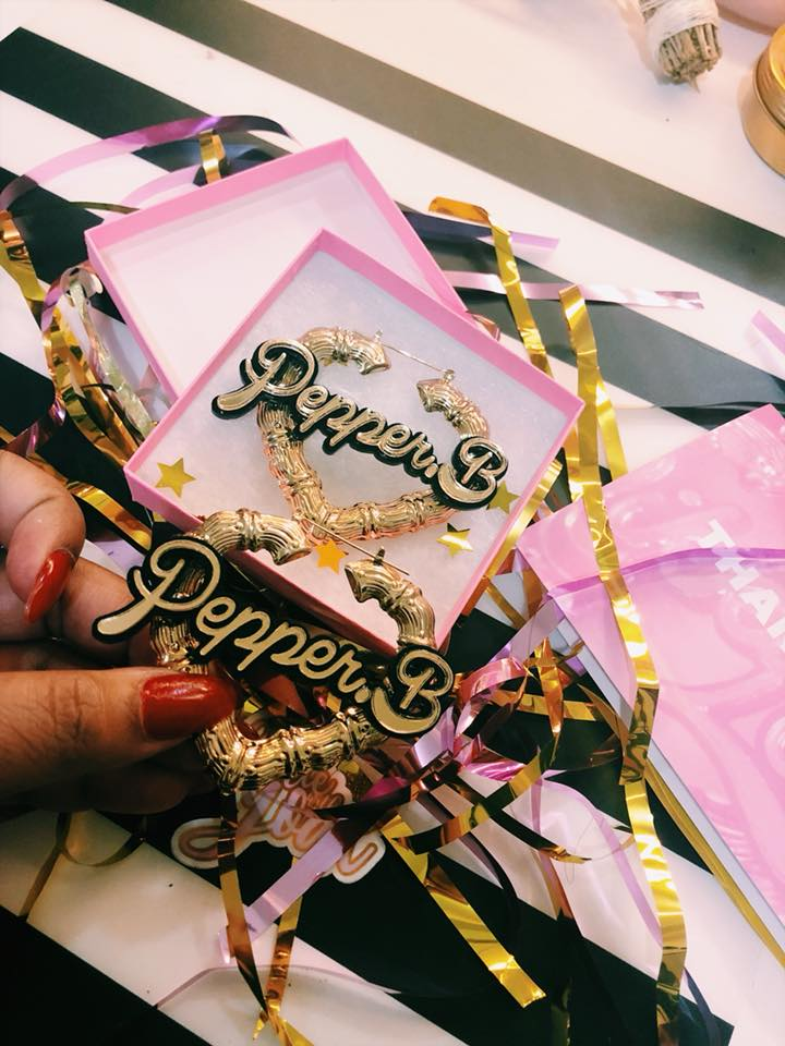 @Downtownpepper 5th Day Giveaway - Her Hustle Custom Hoop Bamboo Earrings Wednesday.