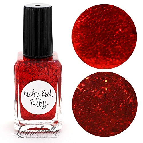Lynnderella    Red Multi Glitter Nail Polish—Ruby Red Ruby