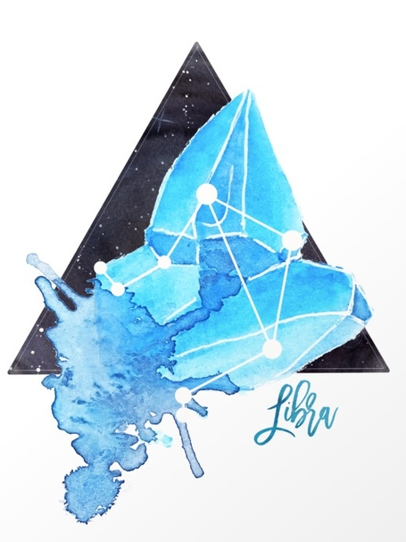Sapphire Libra Constellation Crystal by   Ashley Picanco Art