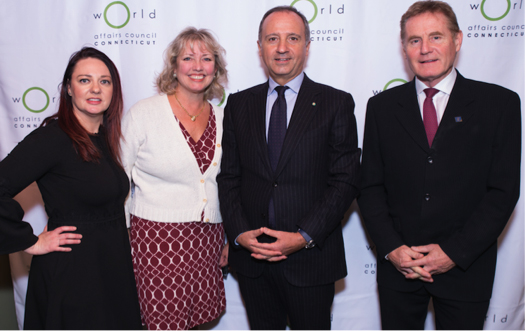 Pictured Left to right:  Megan C Torrey (CEO CTWAC), Rebecca A. Nolan (VP Business Development MetroHartford Alliance), HE Armando VarrIcchio, Clive Cunliffe