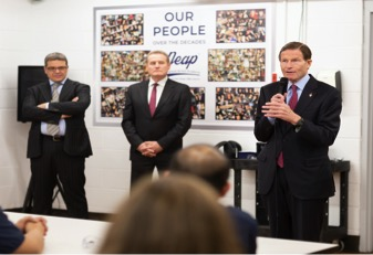 The NEAP town hall forum with Senator Richard Blumenthal (Right) as the guest of honor addressing the NEAP workforce, with Michele Cassin (VP and general Manager NEAP - Left) and Clive Cunliffe President North America – Pietro Rosa Group - Centre)