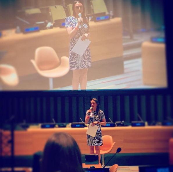 MJ talking about how millennials can end slavery at the UN, Nexus Youth Summit, photo courtesy of MJ Kronfeld