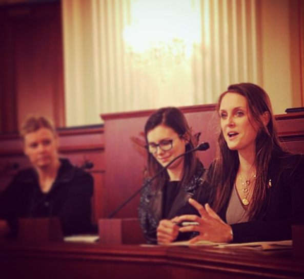 MJ Speaking on Capitol Hill with a survivor of sex trafficking and Sarah Gardner of Thorn, photo courtesy of MJ Kronfeld