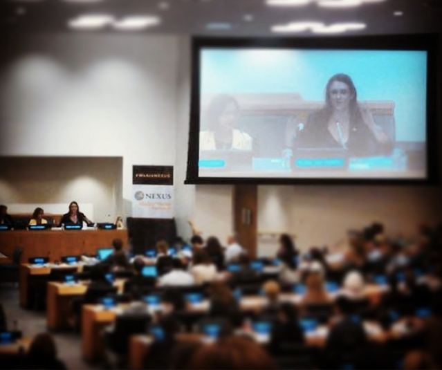 MJ Moderating a panel at the UN with UNDOC'S Simone Monasebian, Freedom Fund's Nick Grono, and survivor/advocate Shandra Woworuntu, on What is Modern Slavery, photo courtesy of MJ Kronfeld