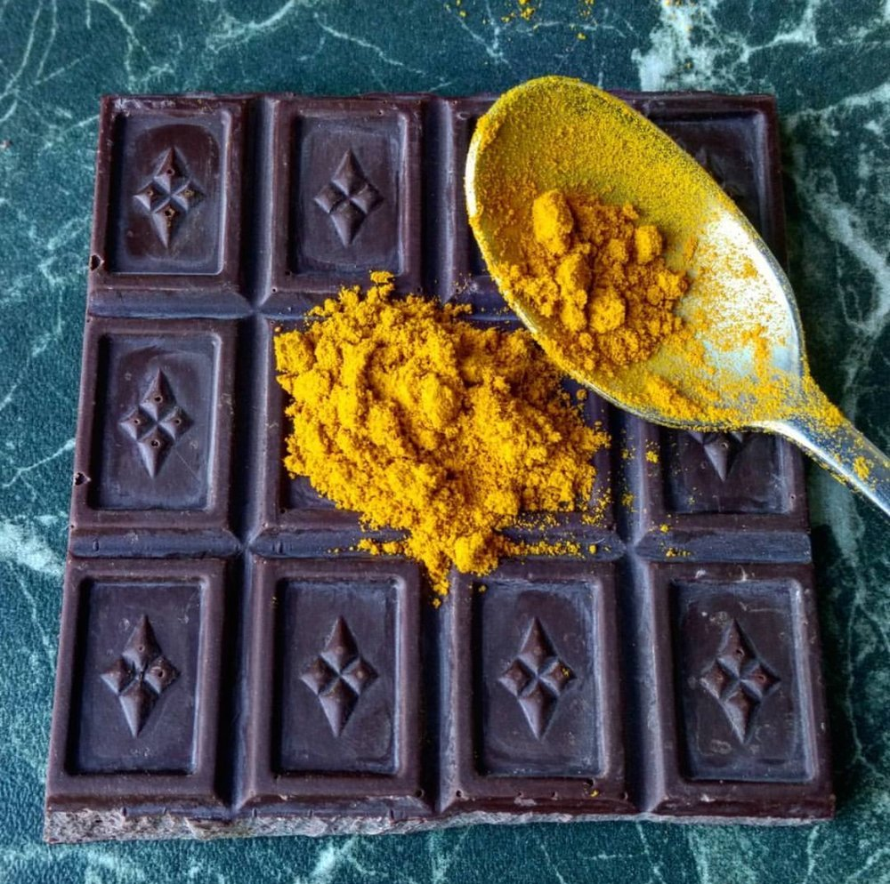 """Am I the only one sprinkling turmeric EVERYWHERE lately?"", Sharon asks about the turmeric and chocolate trend. Photo by Sharon Terenzi"