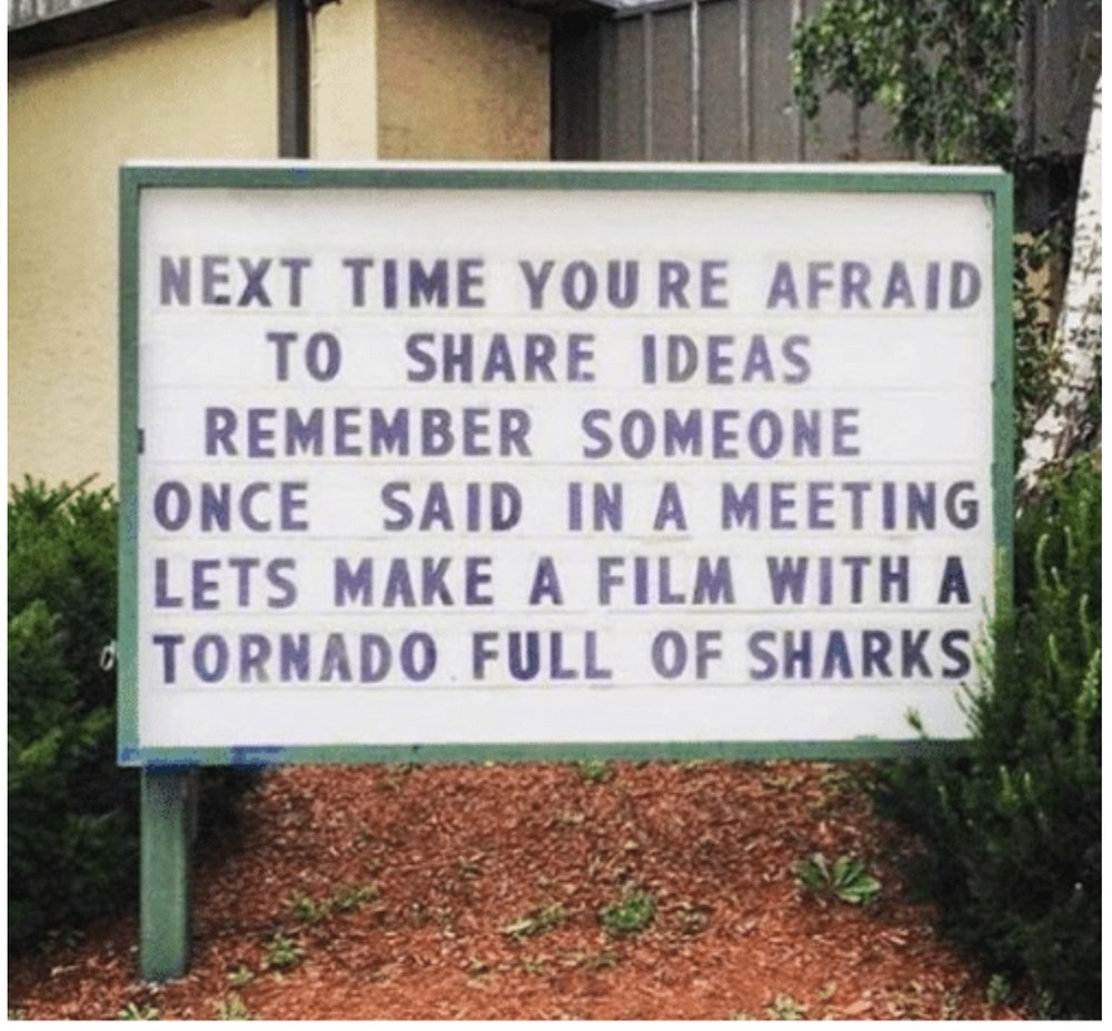 """Next time you're afraid to share ideas, remember someone once said in a meeting, let's make a film with a tornado full of sharks."" -viral meme found on Reddit, original source unknown"