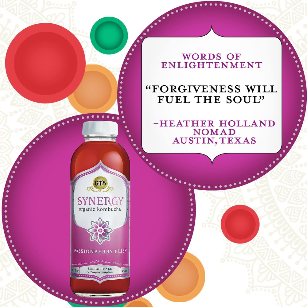 Words of Enlightenment for Synergy by Gt's Kombucha. Passionberry Bliss, Released November2016 Photo by GT's Kombucha