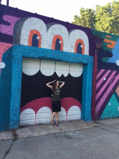 Damsel in distress, monster mural on garage door, Inman Park, Atlanta, artist unknown
