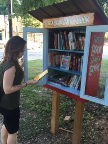 Distracted by books, Pop Up Library,Inman Park, Atlanta