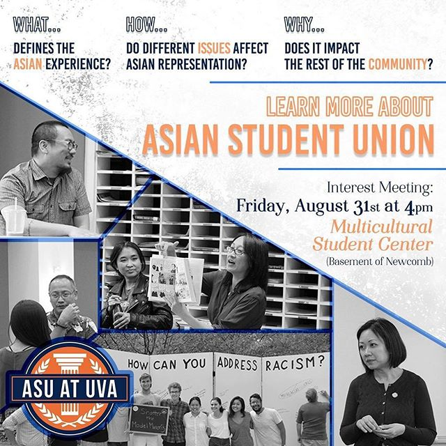 Come out to learn more about what ASU does and how you can join!  We are tabling at the Activities Fair near Homer's Statue tomorrow so be sure to drop by and talk to us(we will have some cold treats to hand out 😲)! Visit the ASU facebook page for more details!  #asu #uva #activitiesfair #interestmeeting #asianstudentunion
