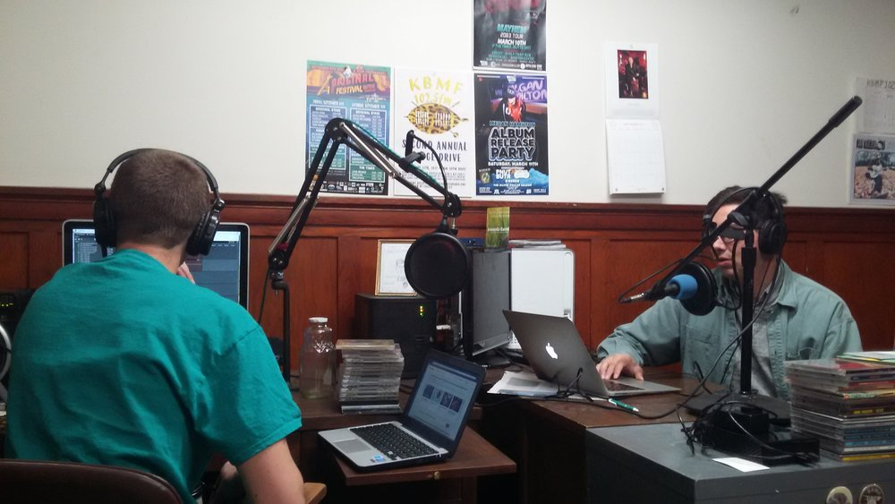 KBMF News Team members Daniel Hogan and Ted McDermott hard at work