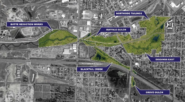 Silver Bow Creek Corridor with remediation and retention ponds.