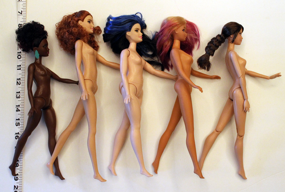 From Left to Right:  Petite, Tall, Curvy, Twist & Turn, and jointed regular Fashionista Barbie.