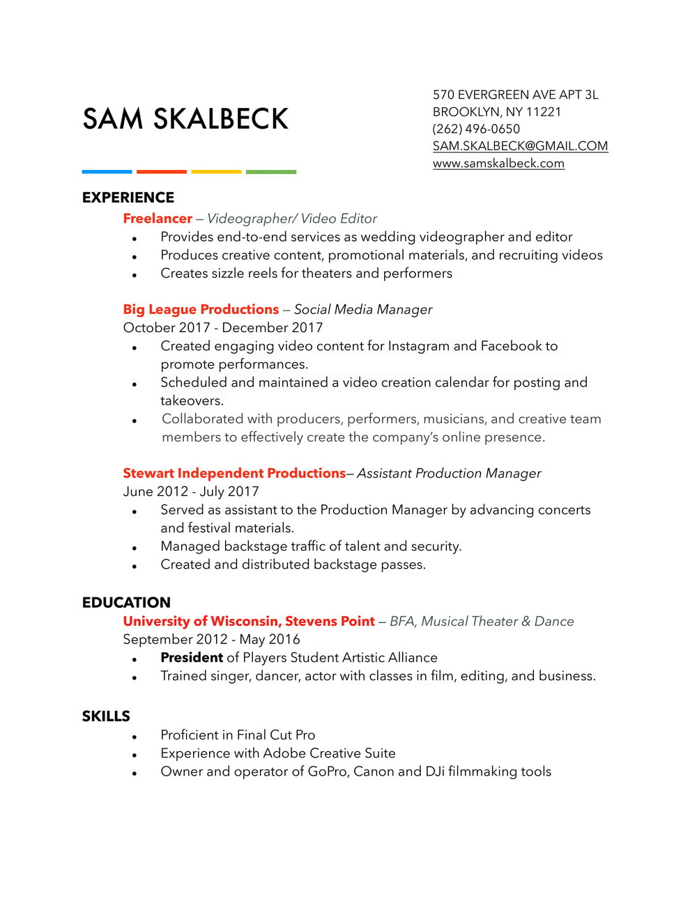 Production Assistant Resume Sam Create