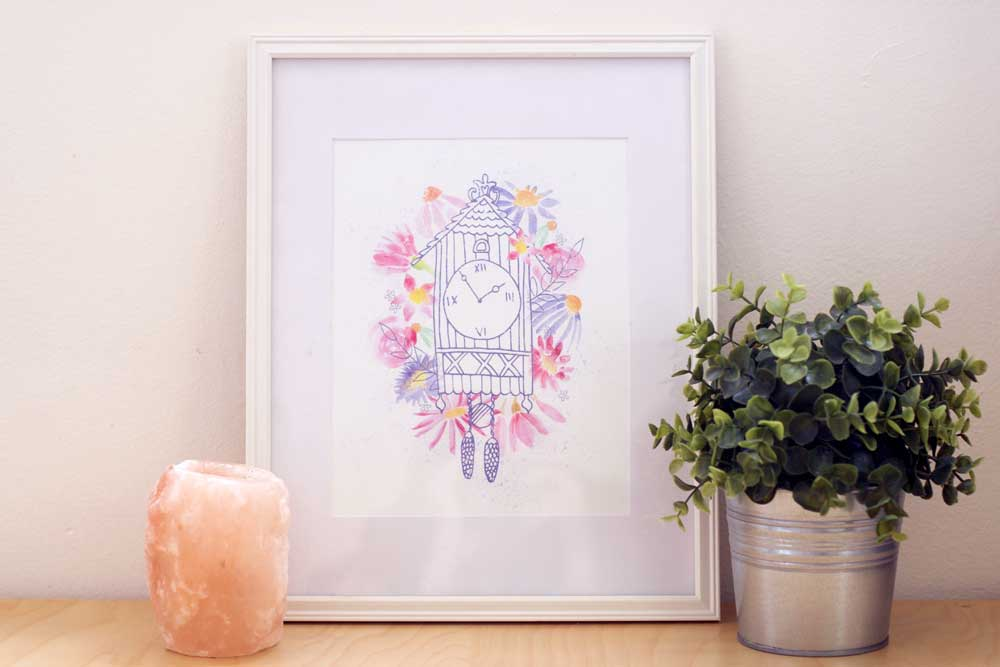 cuckoo clock watercolor painted