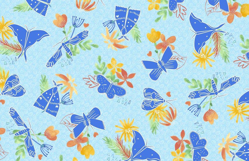 Flying Moths surface pattern design