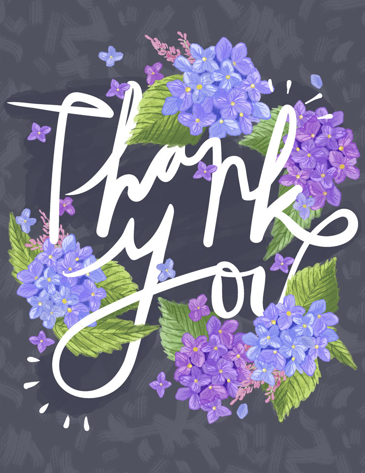 Hydrangea Heart | Thank you Illustration