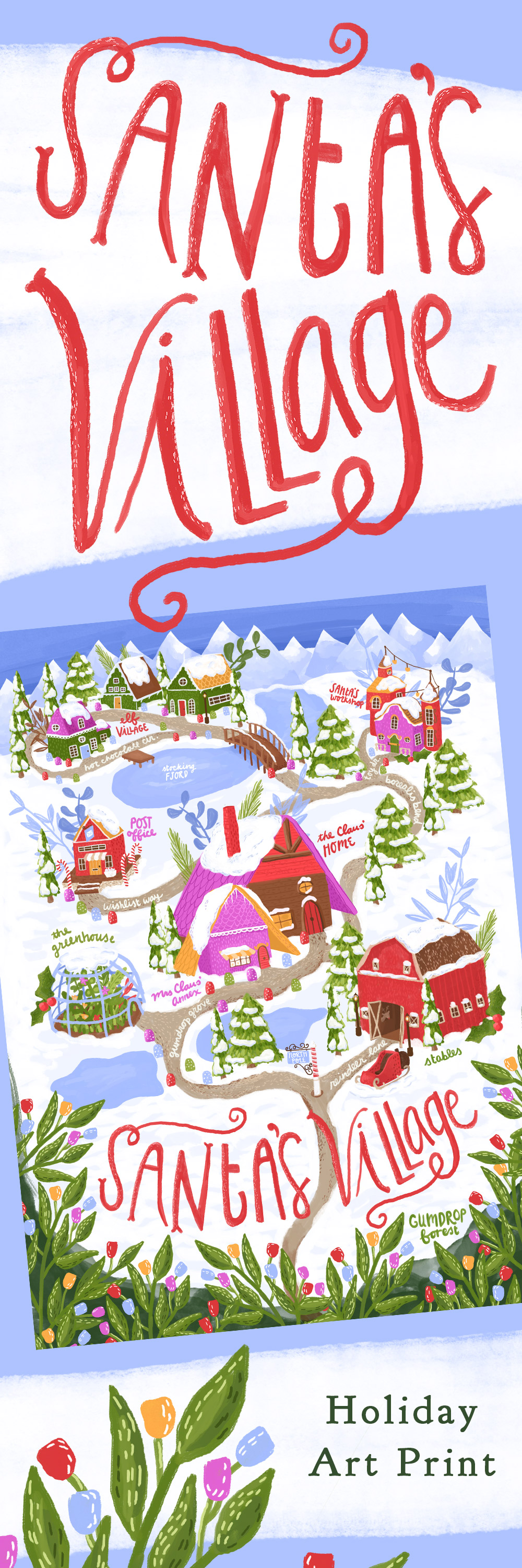 santa's village art print, elf village, santa's workshop, north pole post office, rudolph the red nosed reindeer art