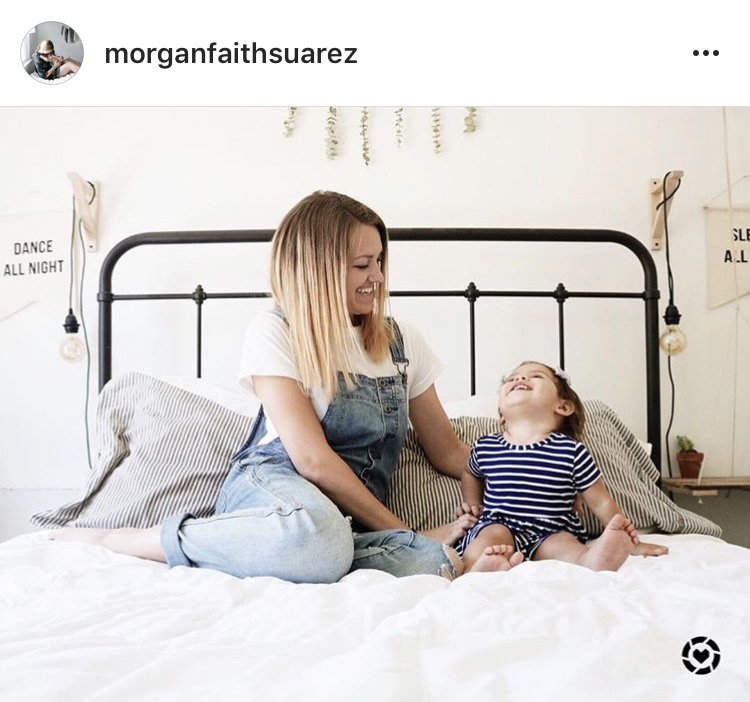 @morganfaithsuarez with her reclaimed wood hanging bedside table