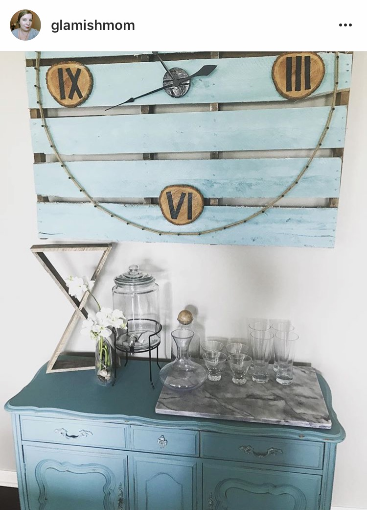 @glamishmom with her reclaimed wood double triangle shelf