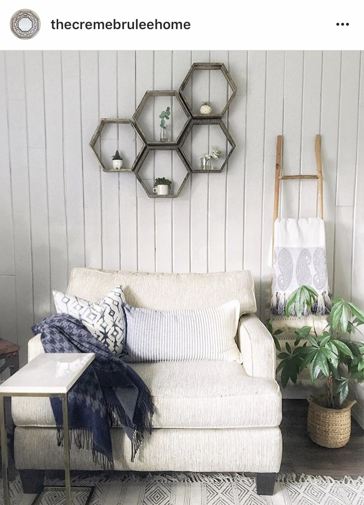 @thecremebruleehome with her reclaimed wood set of 5 hexagons