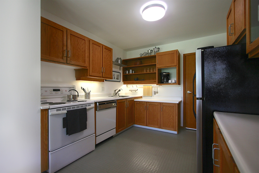 The kitchen — compact, yet highly efficient.