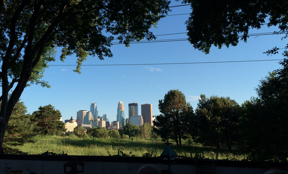A view of Minneapolis over Boom Island