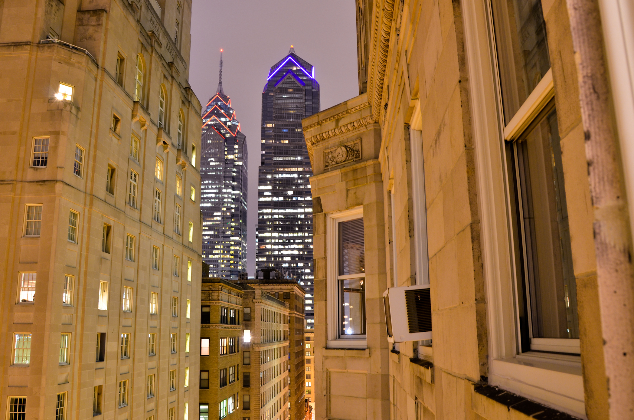 Philadelphia Liberty Place One and Two, philly, buildings, architecture, windows, philadelphia skyline, philadelphia at night, center city philadelphia at night, visit philly,