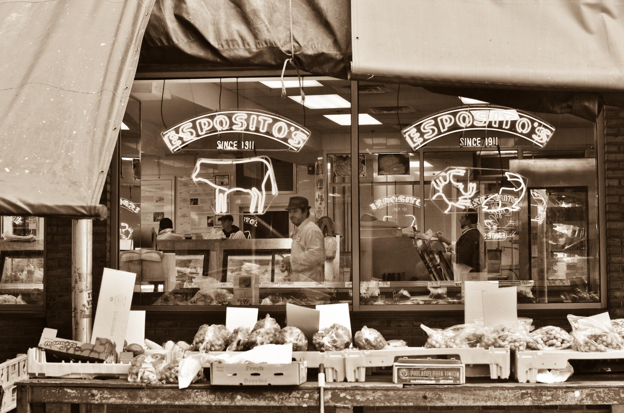 italian meat market, philadelphia 9th street market, esposito's meats philadelphia