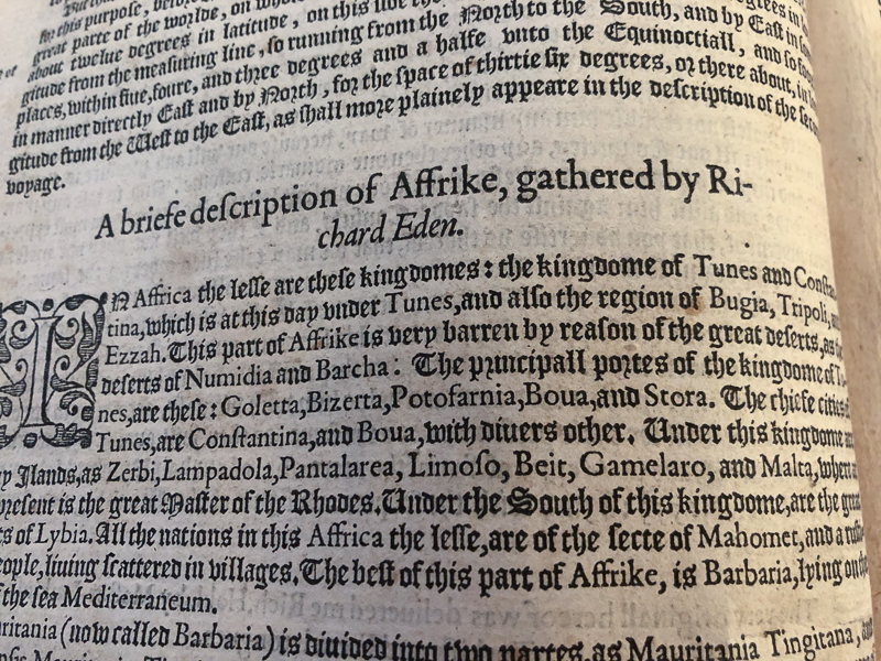 "Notice the change in font and style half way through ""Richard Eden"" in the title? That's a 16th Century moveable type ""whoops!"""