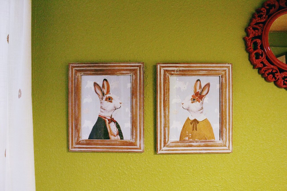 These two are from Etsy (  here   and   here  ) and they were one of the first things I got for the room. Their names are Ned and Cheeks; they're in love.