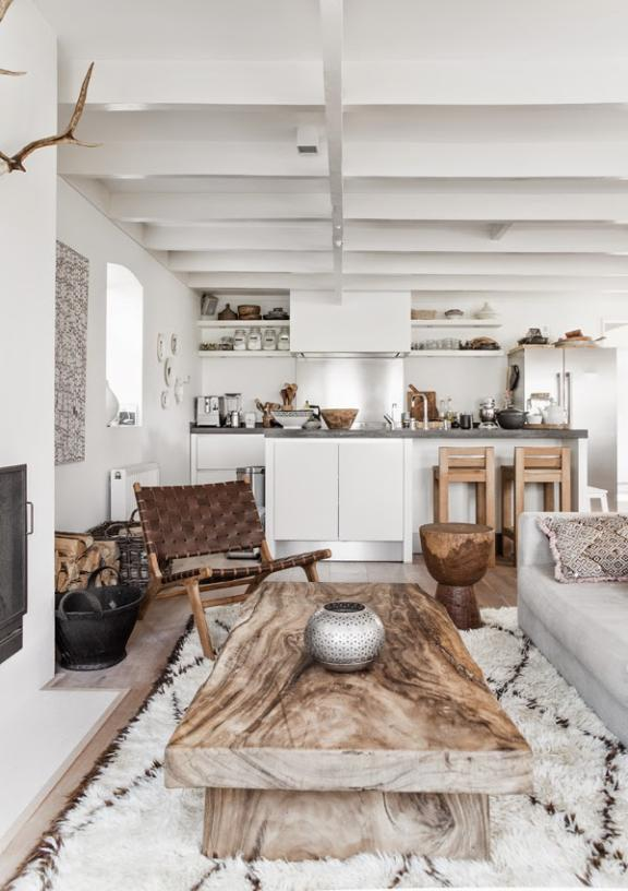 Scandinavian living  space  full of texture