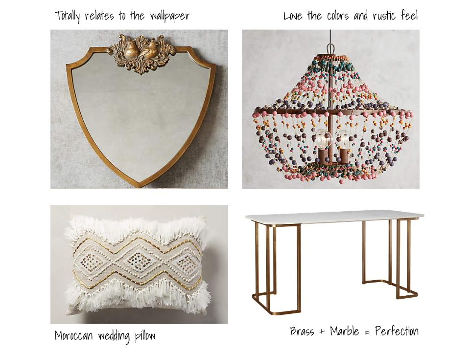 Mirror  |  Chandelier  |  Pillow  |  Desk