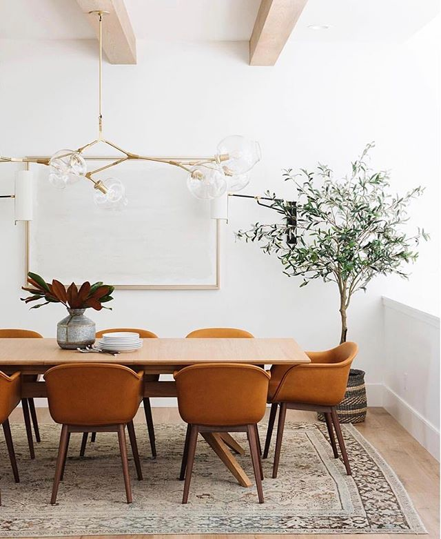 I can't get enough of this @studiomcgee dining room! It's so warm... and that light fixture may just be my very favorite💡My top tip for bringing warmth into your home is usually to add a ton of texture, but this is a prime example that texture isn't the only way to warm things up. The buttery fall-hued leather, warm brass finishes, vintage rug and mixed wood tones here create warmth and coziness while still keeping things super clean and modern. What's your fave way to cozy up your home for the holidays (and beyond)? #smmakelifebeautiful #warminterior #designworthy