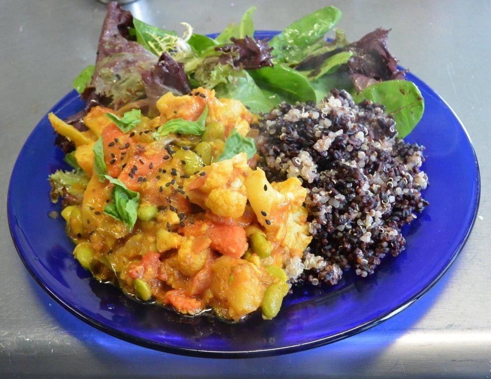 Seasonal Vegetable CurryServed w/ tumeric basmati rice w/ black seed & Salad 11 -