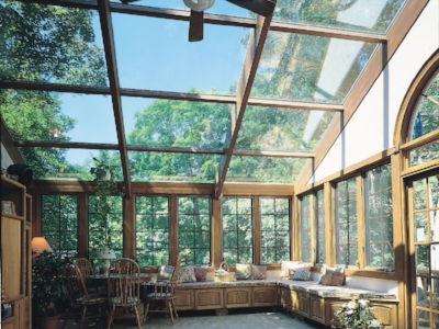 Straight Eave Sunroom with Wood Beams glass roof