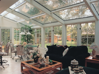 Wood Beam Sunroom with Glass roof