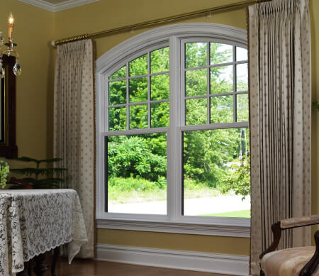 DOUBLE HUNG WINDOWS  are made up of two sash – one above the other – operating by sliding up and down. We offer colonial American style, with endless hardware, color and configuration options.  Sterling Traditional Majesta® Replacement
