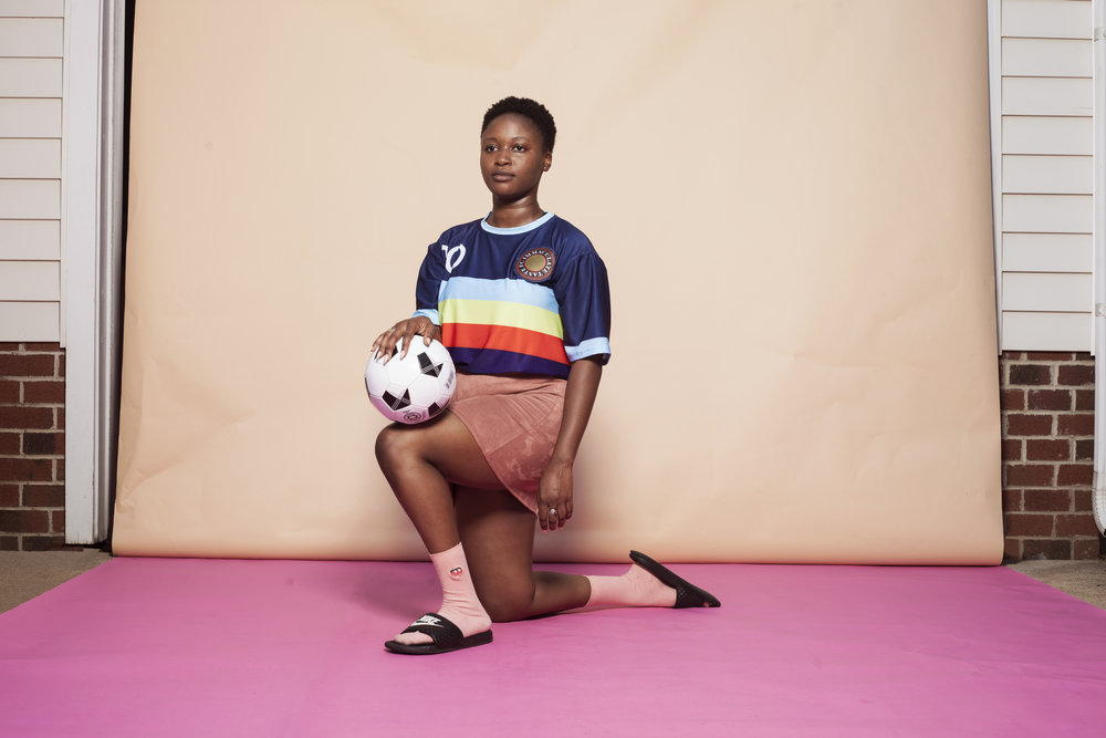 "Immaculate Taste & Runway Clothing Collaboration - ""Growing up in Congo and later in North Carolina soccer was our first sport we as a family fell in love with"" We used to collect soccer cards and jerseys—dreaming to one day play professionally. When the decision came down to figuring out our first campaign, it only made sense to go with a soccer jersey"