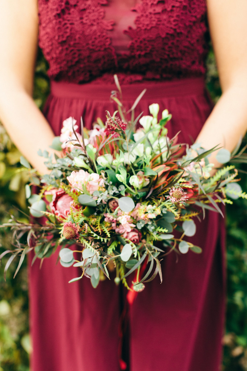 Textural Burgundy Bridesmaid Bouquet