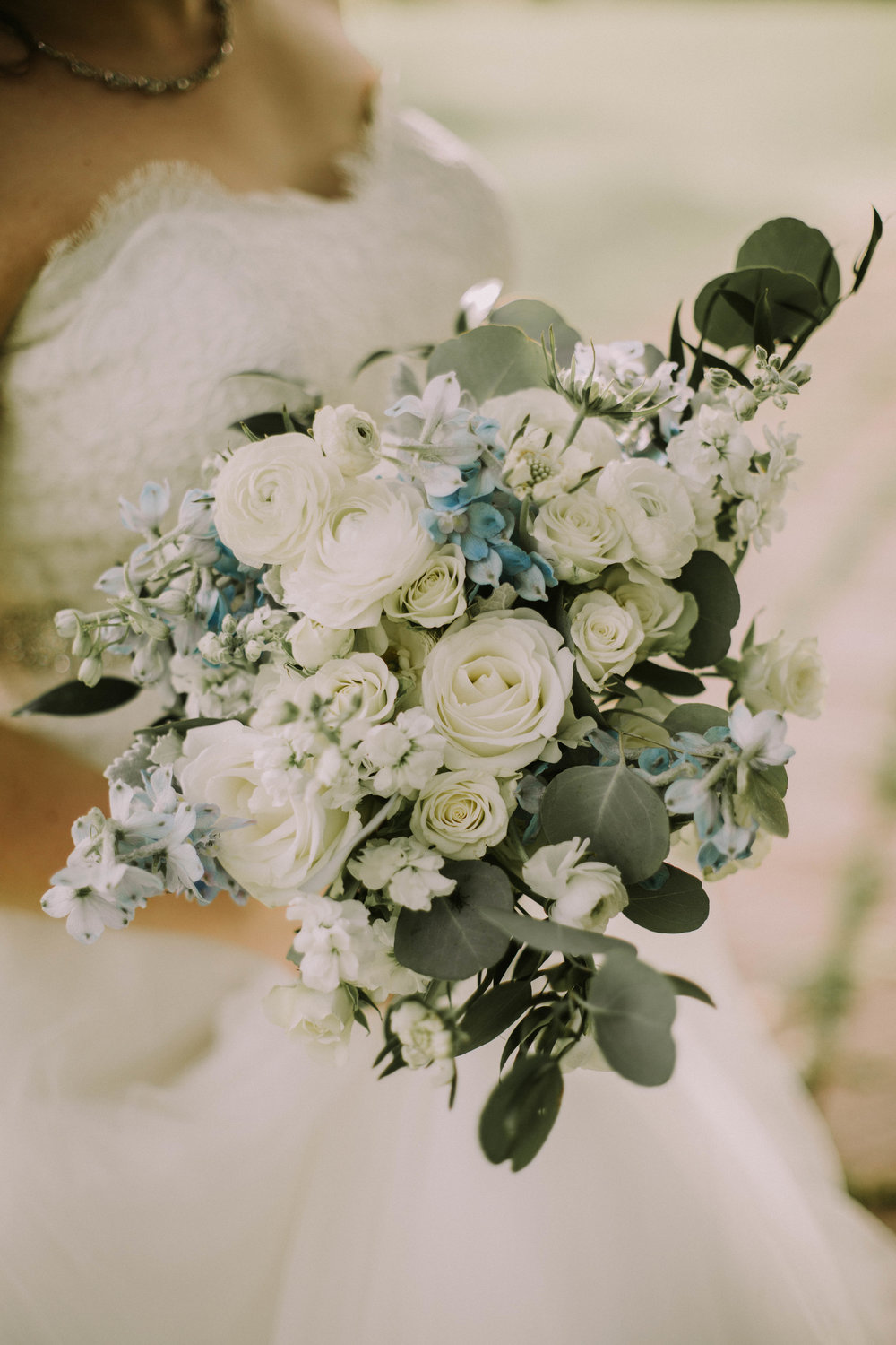 Whtie and Blue Spring Wedding Bouquet