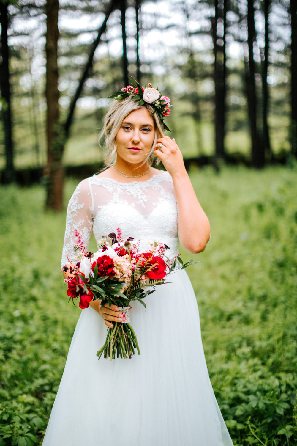 Bright Pink Bridal Bouquet and Flower Crown