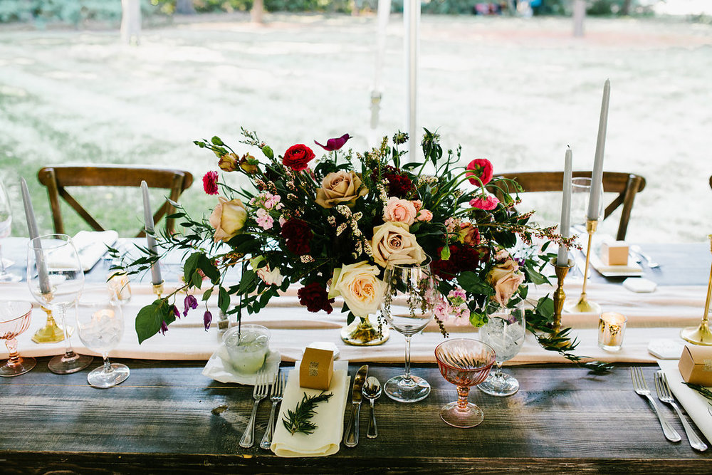 Outdoor Wedding Compote Centerpieces- Pollen and Pastry