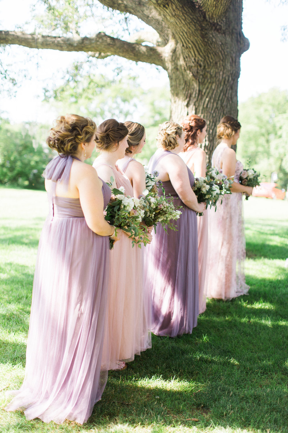 Dusty Purple and Blush Bridesmaids