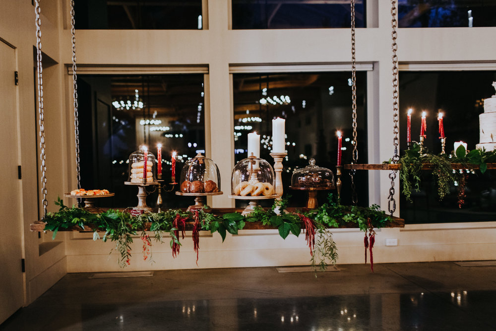 Hanging dessert table fall wedding