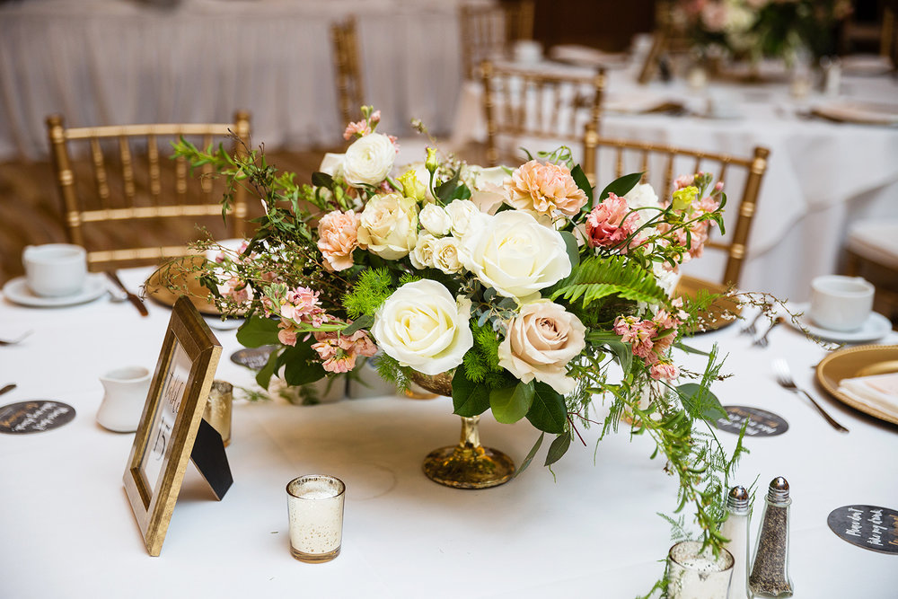 Gold compote centerpieces