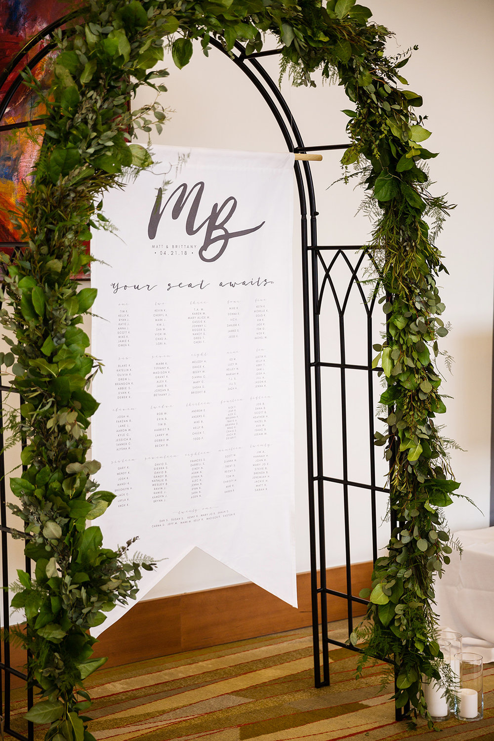 Seating chart greenery display