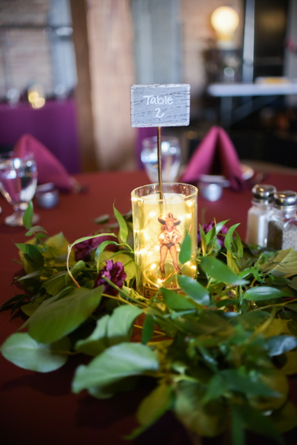 Fairy light greenery centerpiece
