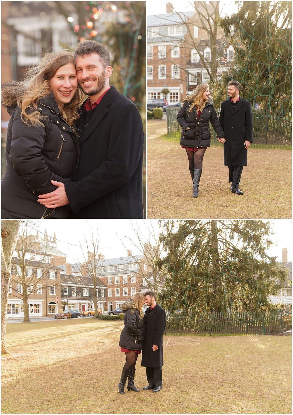 Winter engagement portraits in town square | Christina Keddie Photography | Princeton NJ engagement photographer