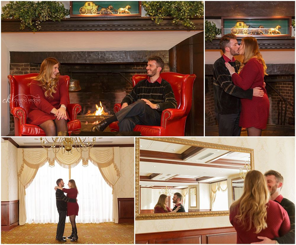 Engagement portraits in hotel by fireplace and ornate mirror | Christina Keddie Photography | Princeton NJ engagement photographer